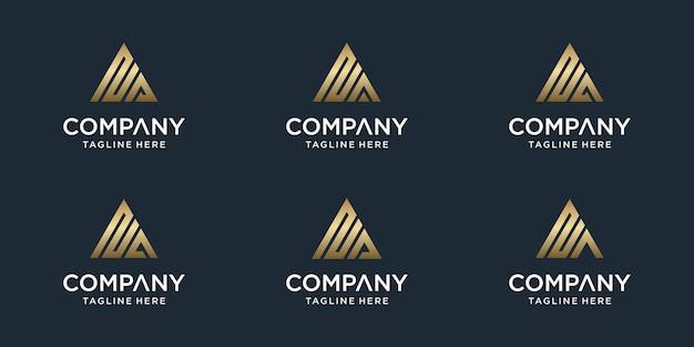 Conjunto de plantilla de logotipo de letra na monograma abstracto creativo. logotipos para negocios de lujo, elegantes, sencillos