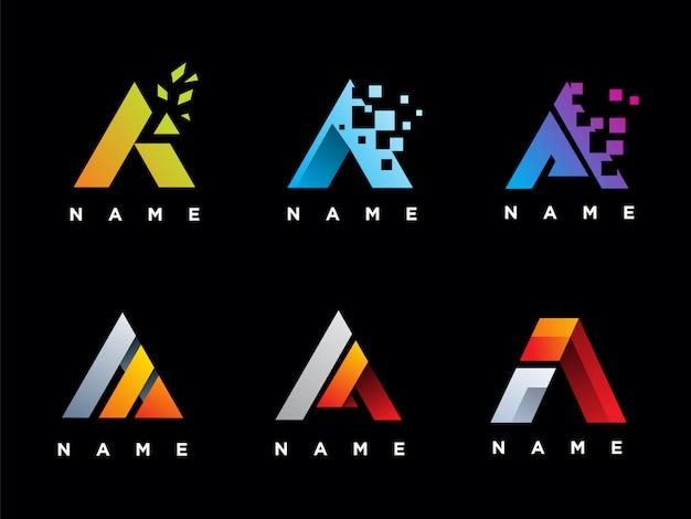 Conjunto de plantilla de logotipo de letra a