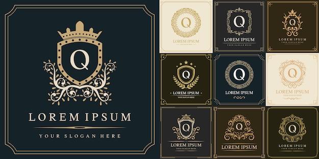 Conjunto de plantilla de logotipo de lujo, letra inicial tipo q