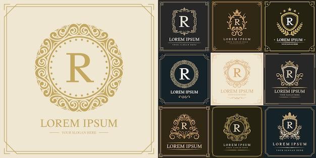 Conjunto de plantilla de logotipo de lujo, letra inicial tipo r