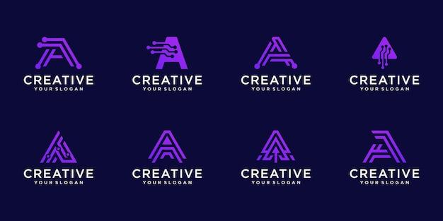 Conjunto de plantilla de logotipo monograma abstracto letra a