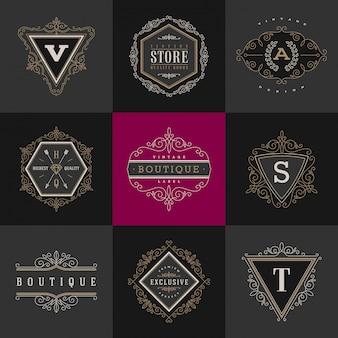 Conjunto de plantilla de logotipo monograma con florece elementos de adorno elegante caligráficos.