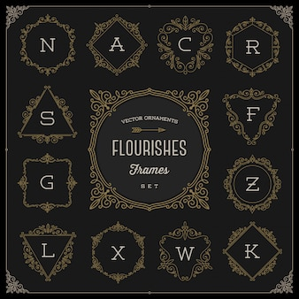 Conjunto de plantilla de logotipo de monograma con florituras caligráficas elegantes marcos de adornos - ilustración