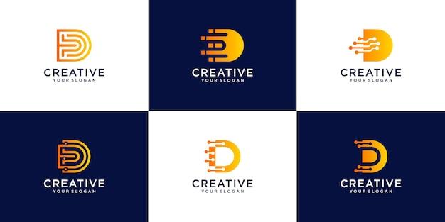 Conjunto de plantilla de logotipo monograma letra d