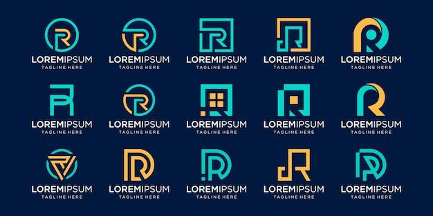 Conjunto de plantilla de logotipo monograma letra inicial r rr. iconos para negocios de moda, negocios, consultoría, tecnología digital.