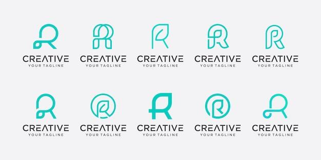 Conjunto de plantilla de logotipo monograma letra inicial r.