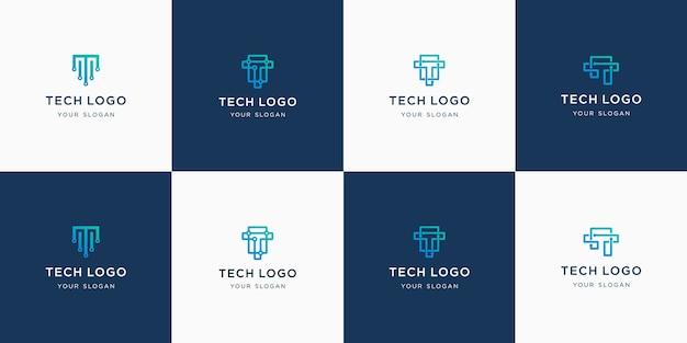 Conjunto de plantilla de logotipo de monograma de letra t inicial abstracta.
