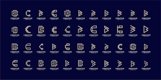 Conjunto de plantilla de logotipo de monograma de lettermark creativo