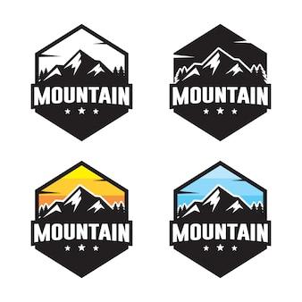 Conjunto de plantilla de logotipo de montaña