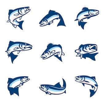 Conjunto de plantilla de logotipo de pescado simple