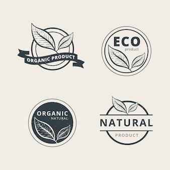 Conjunto de plantilla de logotipo de producto orgánico profesional