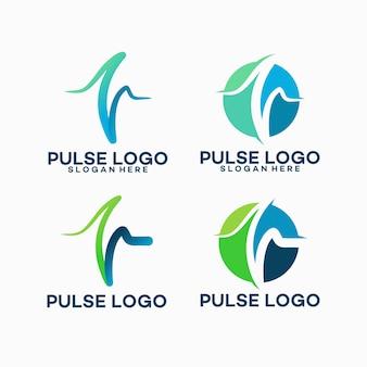 Conjunto de plantilla de logotipo de pulso