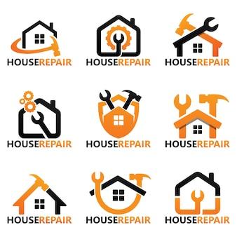 Conjunto de plantilla de logotipo de reparación de casa
