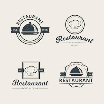 Conjunto de plantilla de logotipo de restaurante profesional
