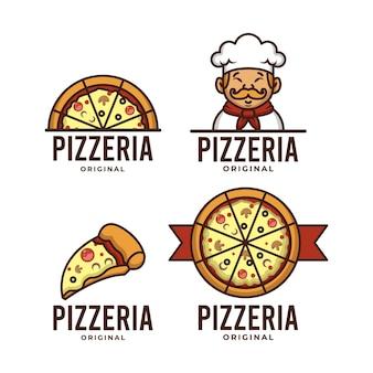 Conjunto de plantilla de logotipo retro de pizzaria