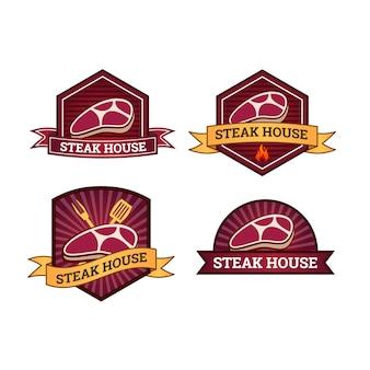 Conjunto de plantilla de logotipo steak house