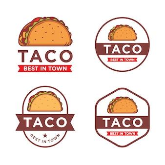 Conjunto de plantilla de logotipo de taco