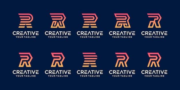 Conjunto de plantilla de logotipo de velocidad r letra inicial monograma.