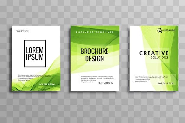 Conjunto de plantilla de onda folleto verde negocio abstracto