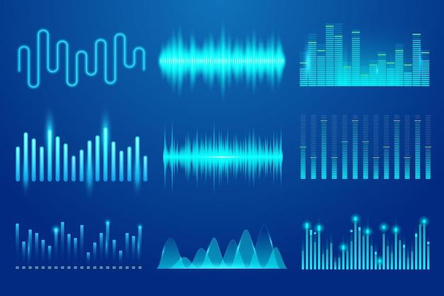 Conjunto de plantilla de onda de música de sonido vectorial tecnología de audio gráficos de sonido de pulso musical