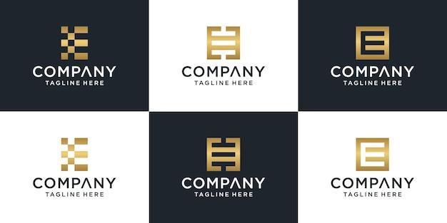 Conjunto de plantilla de oro del logotipo de la letra e del monograma abstracto creativo.