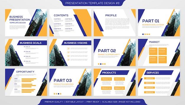 Conjunto de plantilla de página de presentación