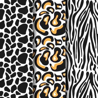 Conjunto de plantilla de patrones sin fisuras con estampado animal