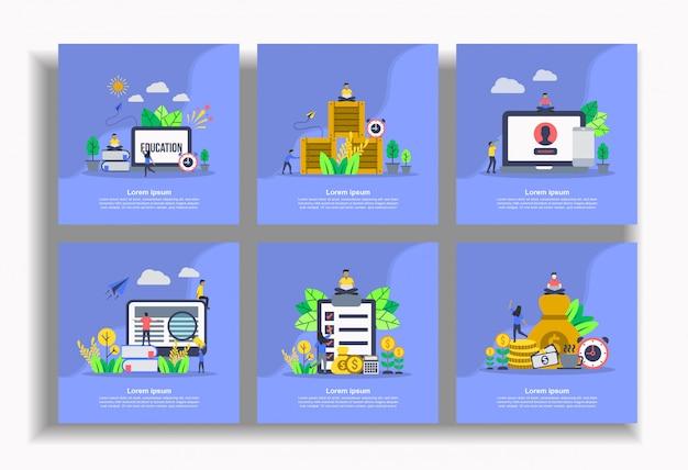 Conjunto de plantilla plana, fácil de editar y personalizar