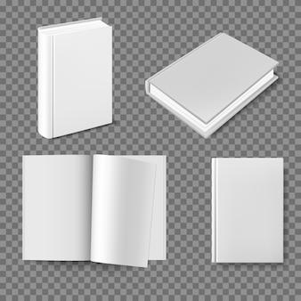 Conjunto de plantilla de portada de libro en blanco.