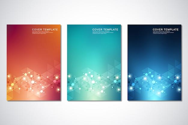 Conjunto de plantilla para portada o folleto, con fondo de moléculas y red neuronal
