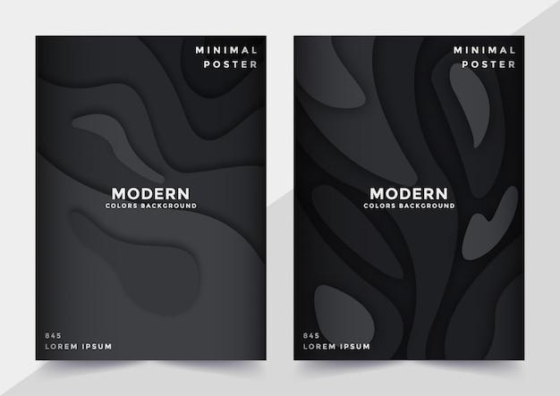 Conjunto de plantilla de portada en papel cortado estilo diseño negro