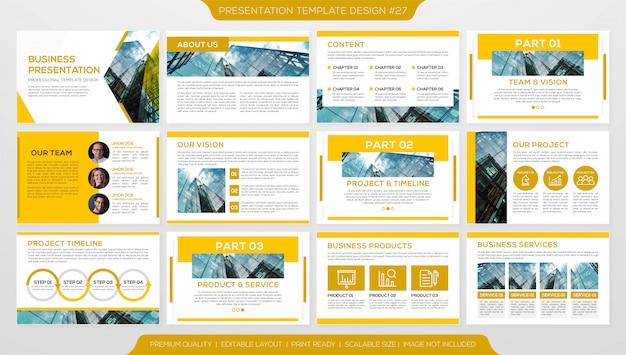Conjunto de plantilla de presentación de negocios minimalista