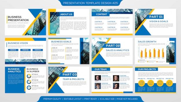 Conjunto de plantilla de presentación de negocios