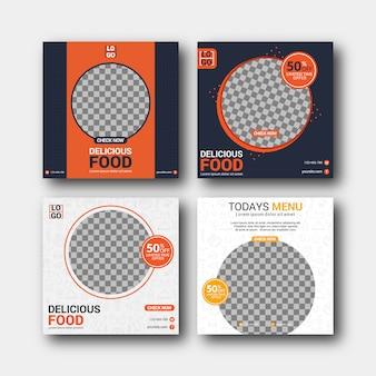 Conjunto de plantilla de publicación de redes sociales culinarias