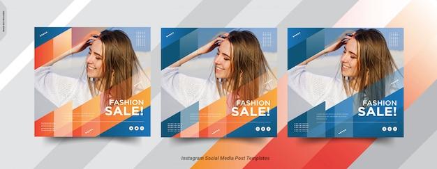 Conjunto de plantilla de publicación de redes sociales de publicaciones de fashion-insta