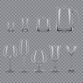 Conjunto de plantilla realista de vasos y tazas de alcohol transparentes vacíos.