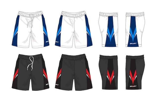 Conjunto de plantilla de shorts deportivos.