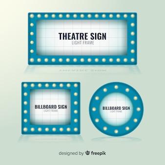 Conjunto de plantilla de signo de teatro plano