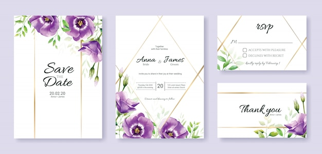 Conjunto de plantilla de tarjeta de invitación de boda. flor purpura.