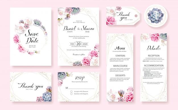 Conjunto de plantilla de tarjeta de invitación de boda. flor de rosa, plantas suculentas.