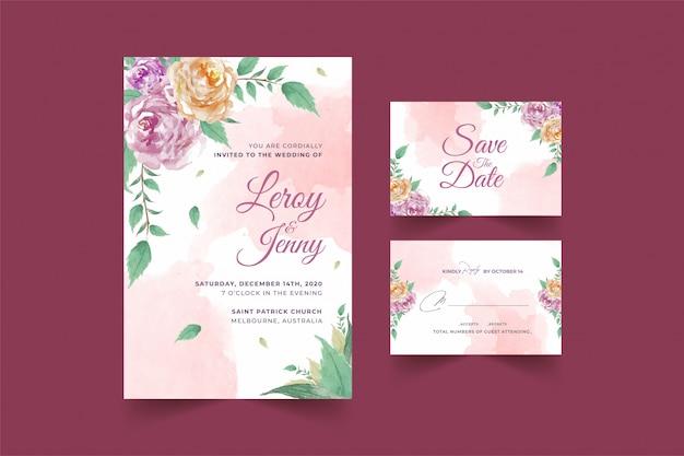 Conjunto de plantilla de tarjeta de invitación de boda floral con flor rosa y hojas premium vector
