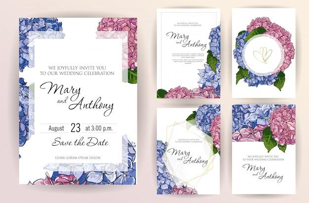 Conjunto de plantilla de tarjeta de invitación de boda con flores hortensias.