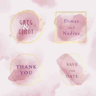 Conjunto de plantilla de tarjeta de invitación de boda, marco dorado acuarela con estilo de color rosa