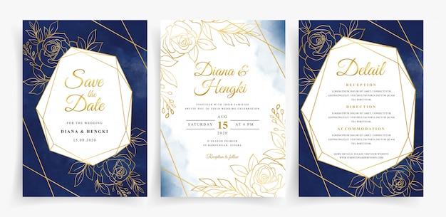 Conjunto de plantilla de tarjeta de invitación de boda con marco floral y geométrico de línea dorada