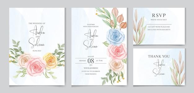 Conjunto de plantilla de tarjeta de invitación de boda con salpicaduras de acuarela azul