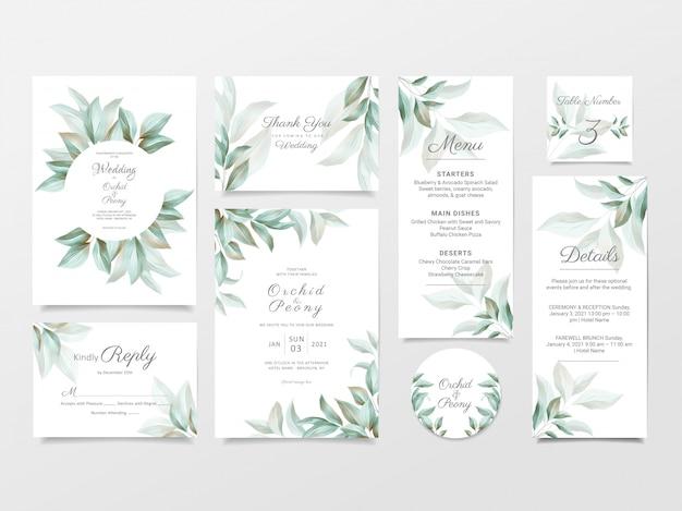 Conjunto de plantilla de tarjeta de invitación de boda verde de hojas silvestres de acuarela
