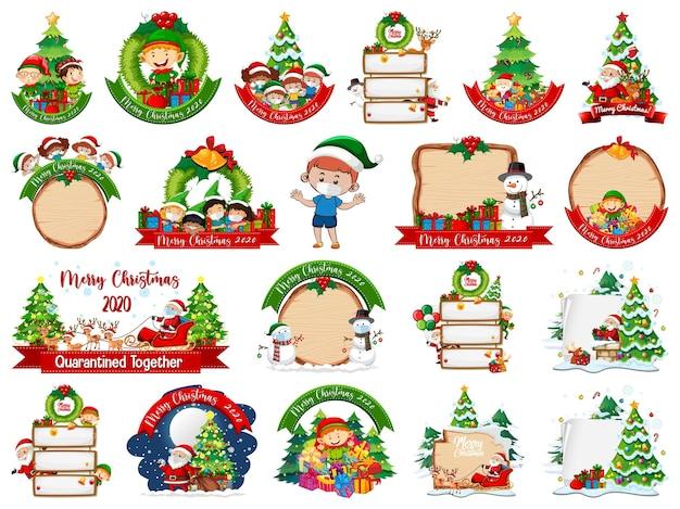 Conjunto de plantilla de tarjeta de navidad en blanco aislado en blanco