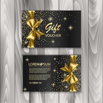 Conjunto de plantilla de tarjeta de vale de regalo, publicidad o venta. plantilla con textura brillante y lazo realista