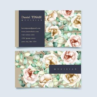 Conjunto de plantilla de tarjeta de visita con hojas de eucalipto