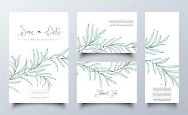 Conjunto de plantilla de tarjetas de hojas de acuarela verde